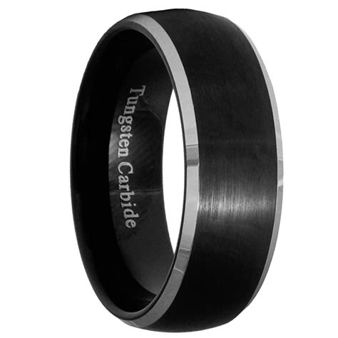 8mm Black Brushed Tungsten Carbide Men/Women Ring Wedding