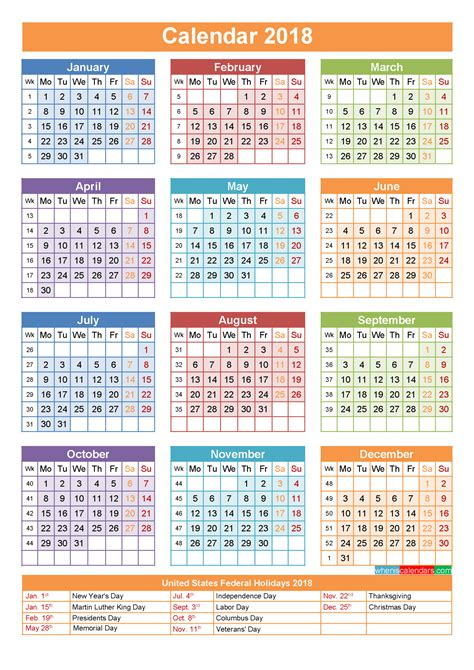 printable calendar 2018 with us holidays 2018 calendar with holidays
