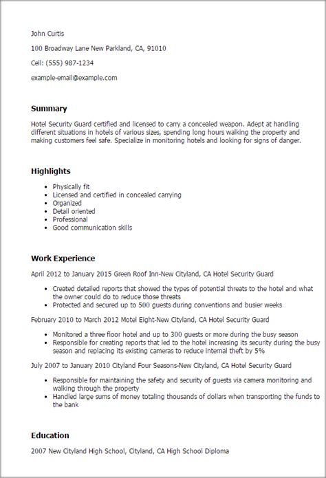 sle resume hotel security guard hotel security guard resume template best design tips myperfectresume