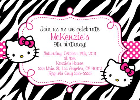 kitty birthday invitation bagvania  printable invitation template