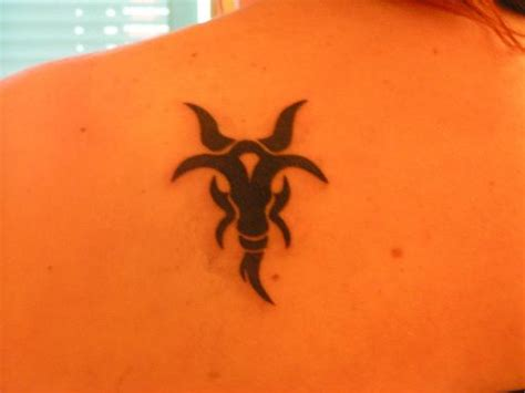 tribal goat head tattoo black ink tribal goat on back shoulder