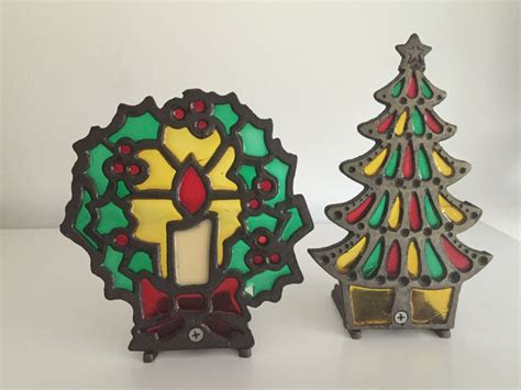 collectable 1970s metal christmas tree with candle holder on top 17 best images about faux stained glass trivets on vintage repurposed and butterflies