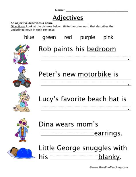Free Adjective Worksheets by Adjectives Colors Worksheet 1