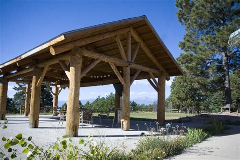The Log Pavilion is ideal for outdoor wedding receptions