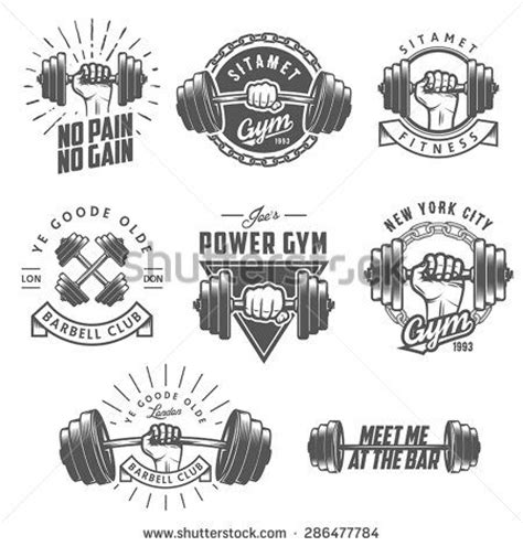 heartbeat dumbbell tattoo set of vintage gym emblems labels and design elements