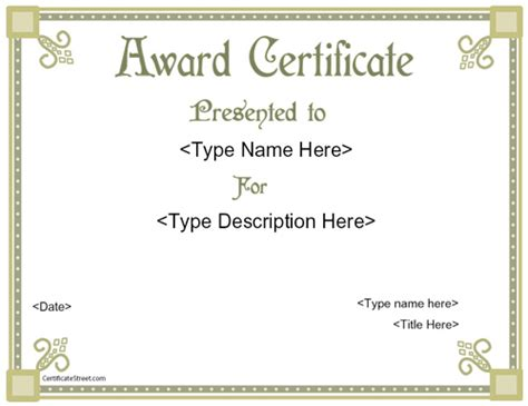 free printable award template award templates free printable certificate templates