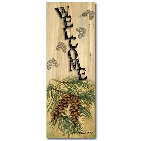 pinecone wall decor welcome quot pinecone quot wood wall