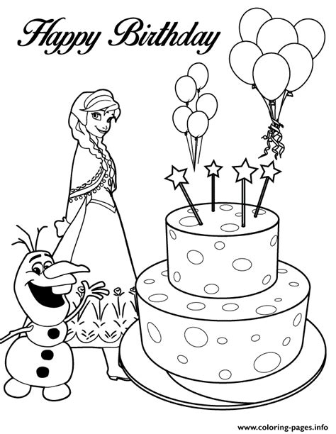 happy birthday anna coloring pages olaf anna and birthday cake colouring page coloring pages