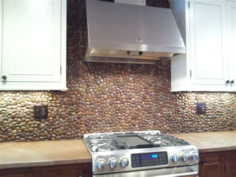 how to make a backsplash in your kitchen creative design river rock backsplash for kitchen