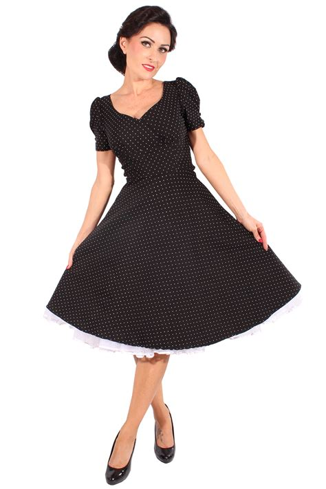 50s rockabilly swing kleid polka dots puff 228 rmel - Rockabilly Swing Kleid