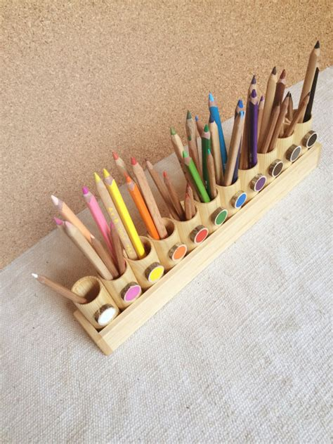 Handmade Materials - montessori wood pencil holder color sorting practical