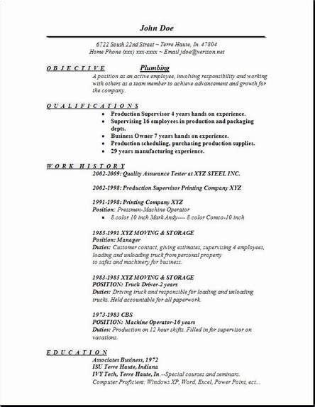 plumbing resume exles sles free edit with word