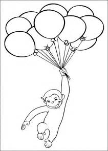 curious george playing baloon coloring pages printable kids colouring pages