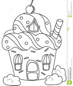 Royalty Free Stock Image Cupcake House Coloring Page 50165676 sketch template