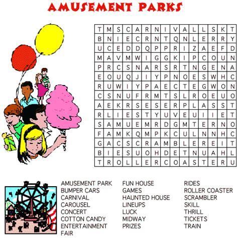 Theme Park Offerings Crossword | amusement park word search puzzle