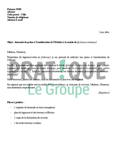 Modeles De Lettres De Sollicitation Lettre De Demande De Prime 224 L Am 233 Lioration De L Habitat Pratique Fr
