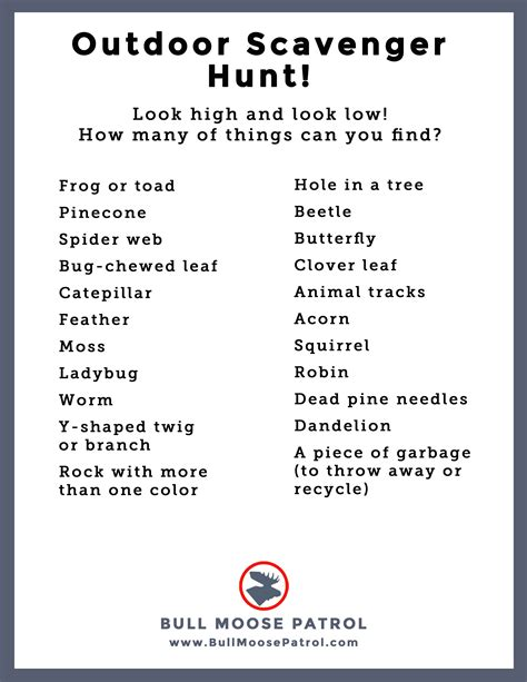 backyard scavenger hunt list summer boredom get the kids outdoors bull moose patrol