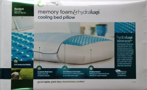 comfort revolution memory foam and hydraluxe cooling bed pillow gt comfort revolution memory foam hydraluxe cooling bed