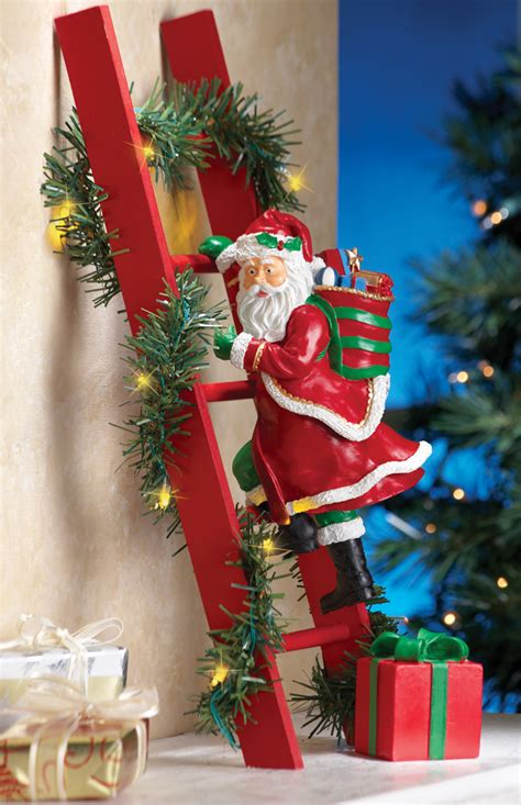 climbing santa claus lighted tree wall mantel home decoration