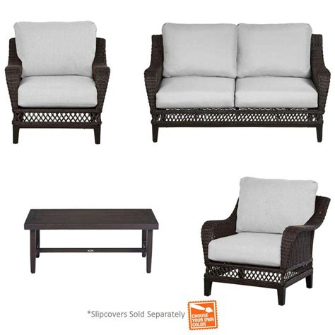 hton bay woodbury 4 piece patio seating set with