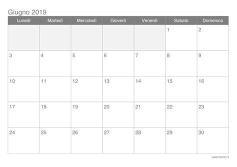 Calendario 2019 Maggio Calendario Giugno 2019 Da Stare Icalendario It