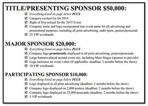 Sponsorship Letter Package Image Result For Sponsorship Levels Letter Pta