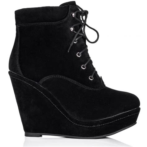 buy cake wedge heel lace up platform ankle boots black