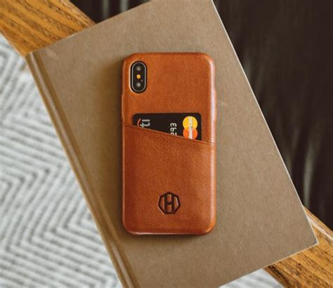 luxury leather iphone  wallet card case brown leather haxford