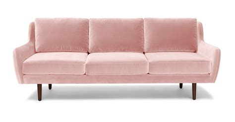 pale pink velvet sofa matrix blush pink sofa sofas article modern mid