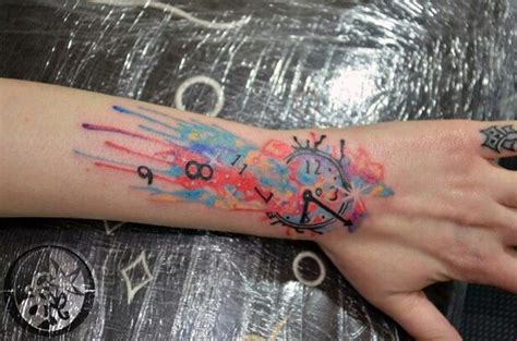 colored time 29 awesome clock wrist tattoos