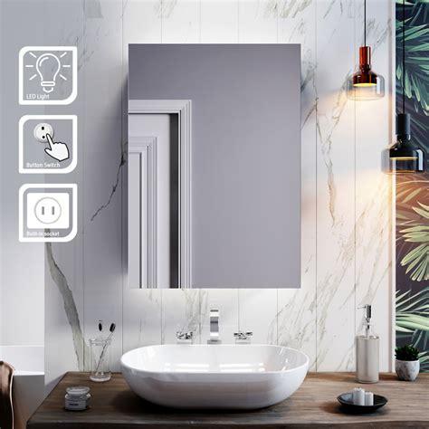 elegant illuminated bathroom mirror cabinet  lights
