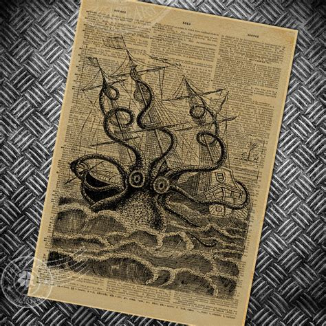 design art news vintage poster retro abstract octopus painting bedroom