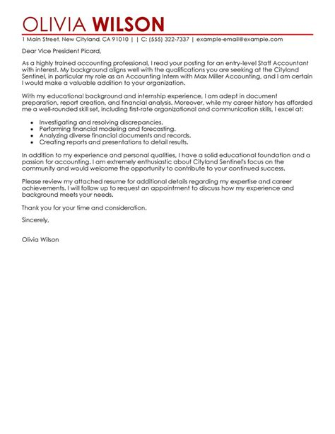 Cover Letter Format Accounting Best Staff Accountant Cover Letter Exles Livecareer