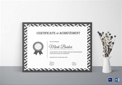 badminton achievement certificate design template in psd word