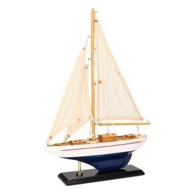zeiljacht luxe versiering zeilboot luxe lichtblauw wit 26 cm versiering net