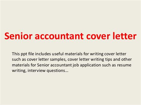 Chief Accountant Cover Letter by Senior Accountant Cover Letter