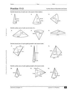 practice 11 3 surface area of pyramids and cones 10th