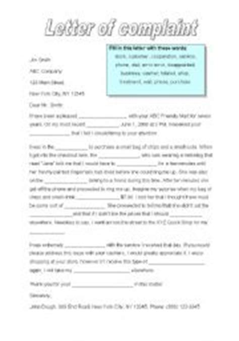 Complaint Letter To Cruise Company Teaching Worksheets A Letter Of Complaint