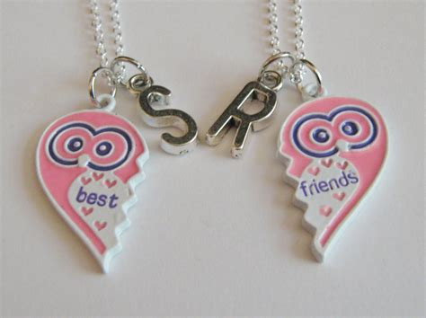 2 owl initial best friend necklaces bff