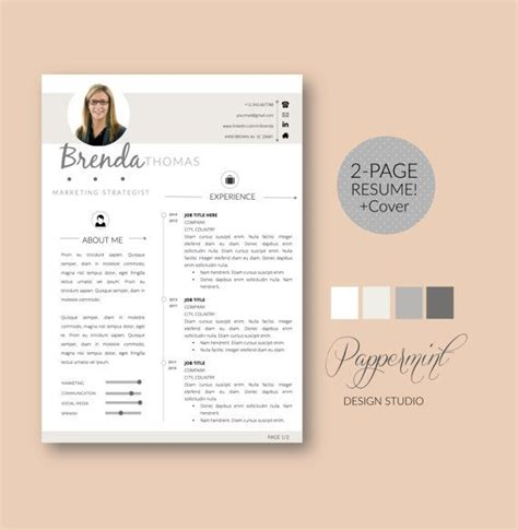 2page Resume Template Cover Letter For Word By Pappermint On Etsy Job Things Pinterest Etsy Letter Template