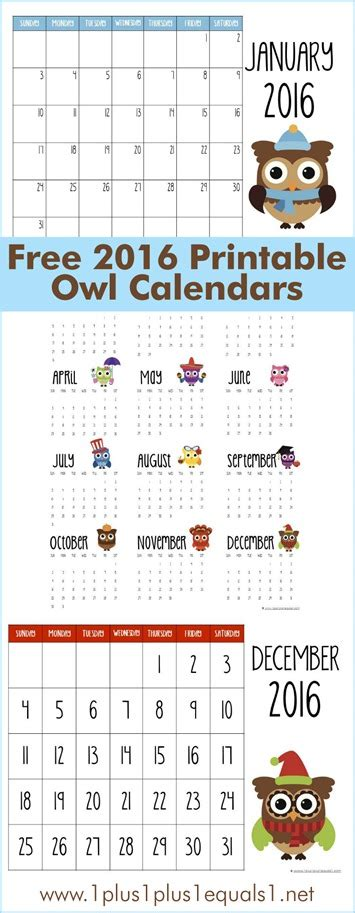printable owl calendar numbers 2016 printable owl calendars 1 1 1 1