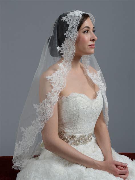 ivory cathedral alencon lace wedding veil v033c