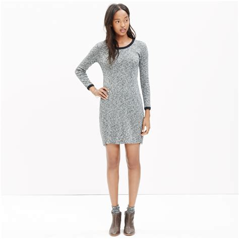 knit dress madewell ribbed knit dress in gray lyst