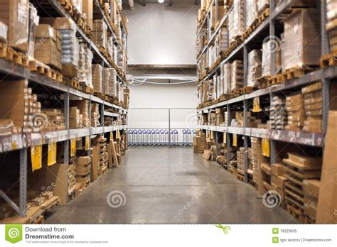 empty aisle at the home improvement warehouse stock image