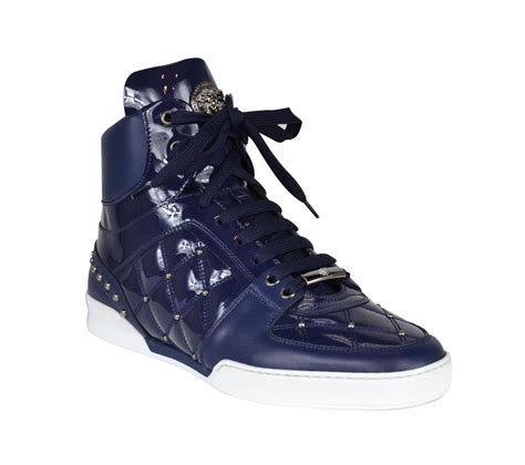 mens leather high top sneakers versace s patent leather high top sneakers blue ebay