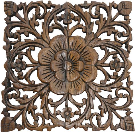 wood carved decorative wall plaque wood plaque carved lotus rustic wall decor