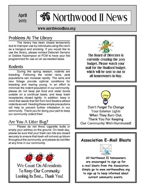 April 2013 Northwood Ii Nwii Hoa Community Association Newsletter Irvine Ca 92620 Free Hoa Newsletter Templates