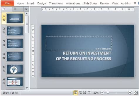 Recruiting Process Return On Investment Template For Powerpoint Investment Presentation Powerpoint Template