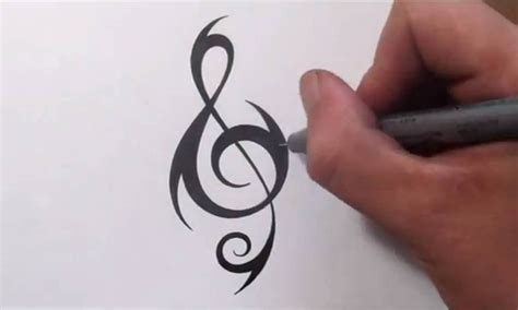 music tribal tattoos cool treble clef drawing www pixshark images