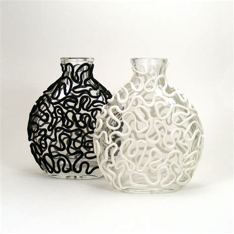 Black And Vases by Black White Clay Lace Set Of 2 Glass Vases Entwine